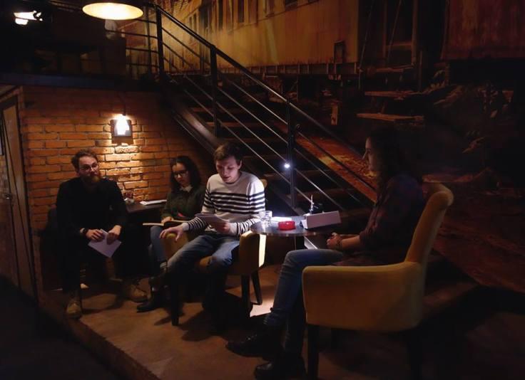 Čitanje u Sarajevu, Theater caffe (Vigor, Lara, Jakob, Lana)